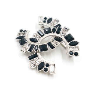 Chanel Silver-Tone Metal & Black Crystal CC Large Brooch