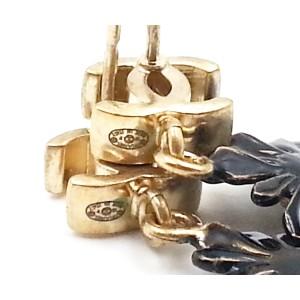 Chanel Gold CC Black Daisy Earrings