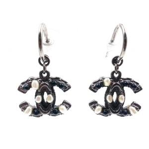 Chanel Gunmetal CC Mini Simulated Glass Pearl Dangle Ruthenium Piercing Earrings
