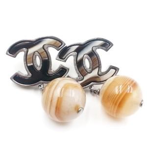 Chanel Silver-Tone Metal & Petrified Wood Bead CC Earrings