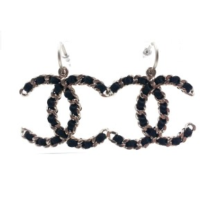 Chanel Silver Tone CC Black Ribbon Dangle Large Piercing Earrings