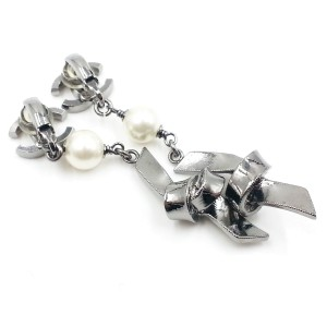 Chanel Silver-Tone Metal & Simulated Glass Pearl Ribbon CC Knot Clip-On Earrings