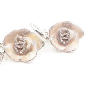 Chanel Silver-Tone Metal & Pink Enamel Leaves CC Camellia Clip-On Earrings