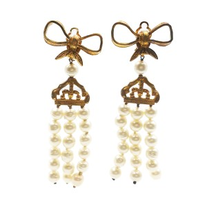 Chanel Gold Plated Metal & Simulated Glass Pearl Bow Clip-On Earrings