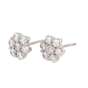 Diamond Cluster Stud Earrings 14k White Gold