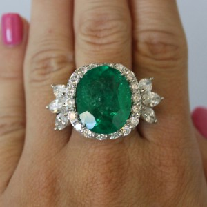 Platinum Colombian Emerald and Diamond Cocktail Ring
