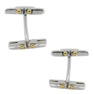 Tiffany 18K Yellow gold and Sterling Silver Gate Cufflinks