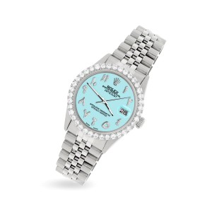 Rolex Datejust 36MM Steel Watch with 3.35CT Diamond Bezel/Aqua Blue Diamond Arabic Dial