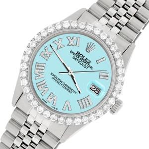 Rolex Datejust 36MM Steel Watch with 3.3CT Diamond Bezel/Aqua Blue Diamond Roman Dial