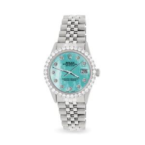 Rolex Datejust 36MM Steel Watch with 3.05Ct Diamond Bezel/Aquamarine Blue Diamond Dial
