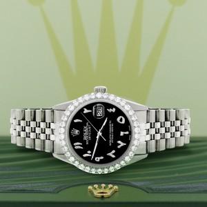 Rolex Datejust 36MM Steel Watch with 3.35CT Diamond Bezel/Black Diamond Arabic Dial