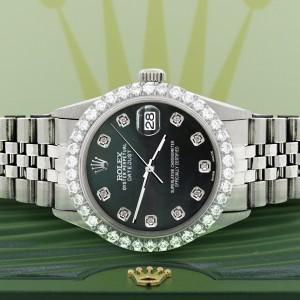 Rolex Datejust 36MM Steel Watch with 3.05Ct Diamond Bezel/Black MOP Diamond Dial