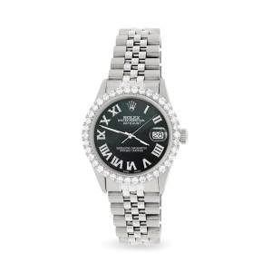 Rolex Datejust 36MM Steel Watch with 3.3CT Diamond Bezel/Black MOP Diamond Roman Dial