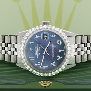 Rolex Datejust 36MM Steel Watch with 3.35CT Diamond Bezel/Black Pearl Diamond Arabic Dial