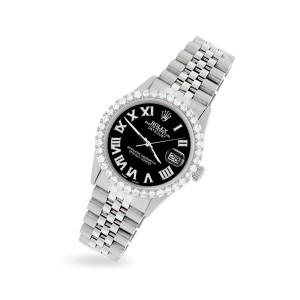 Rolex Datejust 36MM Steel Watch with 3.3CT Diamond Bezel/Black Diamond Roman Dial