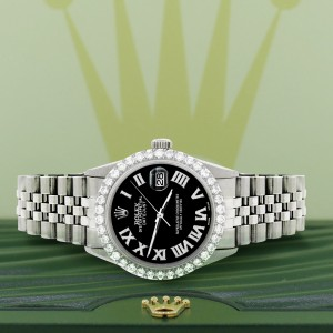 Rolex Datejust 36MM Steel Watch with 3.3CT Diamond Bezel/Black Diamond Roman Dial