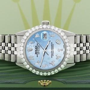 Rolex Datejust 36MM Steel Watch with 3.35CT Diamond Bezel/Blue Flower Diamond Arabic Dial