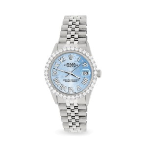 Rolex Datejust 36MM Steel Watch with 3.3CT Diamond Bezel/Blue Flower Diamond Roman Dial