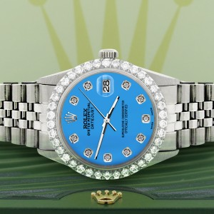 Rolex Datejust 36MM Steel Watch with 3.05Ct Diamond Bezel/Blue Diamond Dial