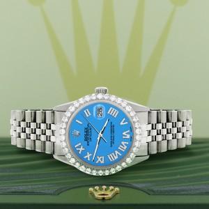 Rolex Datejust 36MM Steel Watch with 3.3CT Diamond Bezel/Blue Diamond Roman Dial