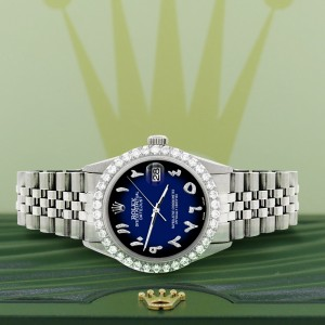 Rolex Datejust 36MM Steel Watch with 3.35CT Diamond Bezel/Blue Vignette Diamond Arabic Dial