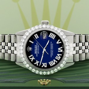 Rolex Datejust 36MM Steel Watch with 3.3CT Diamond Bezel/Blue Vignette Diamond Roman Dial