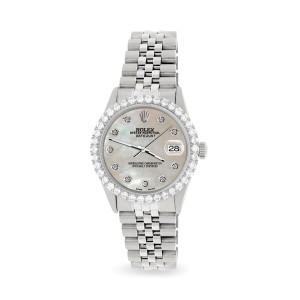 Rolex Datejust 36MM Steel Watch with 3.05Ct Diamond Bezel/Champagne MOP Diamond Dial