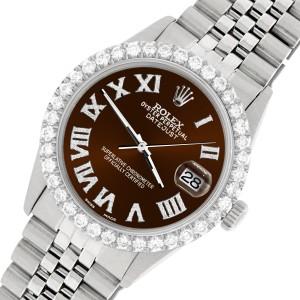 Rolex Datejust 36MM Steel Watch with 3.3CT Diamond Bezel/Chocolate Diamond Roman Dial