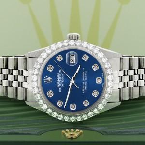 Rolex Datejust 36MM Steel Watch with 3.05Ct Diamond Bezel/Cobalt Blue Diamond Dial