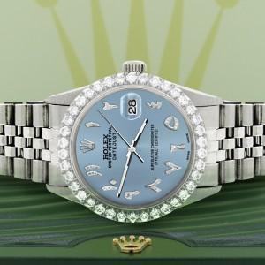 Rolex Datejust 36MM Steel Watch with 3.35CT Diamond Bezel/Ice Blue Diamond Arabic Dial