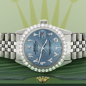 Rolex Datejust 36MM Steel Watch with 3.35CT Diamond Bezel/Ice Blue Jubilee Diamond Arabic Dial