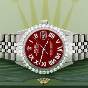 Rolex Datejust 36MM Steel Watch with 3.3CT Diamond Bezel/Imperial Red Diamond Roman Dial