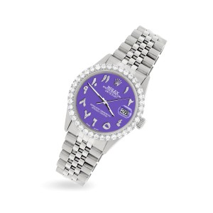 Rolex Datejust 36MM Steel Watch with 3.35CT Diamond Bezel/Lavender Diamond Arabic Dial