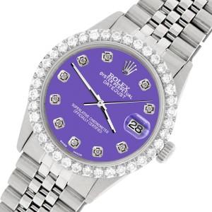 Rolex Datejust 36MM Steel Watch with 3.05Ct Diamond Bezel/Lavender Diamond Dial