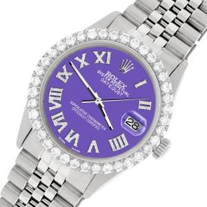 Rolex Datejust 36MM Steel Watch with 3.3CT Diamond Bezel/Lavender Diamond Roman Dial