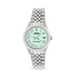 Rolex Datejust 36MM Steel Watch with 3.3CT Diamond Bezel/Light Malachite Diamond Roman Dial