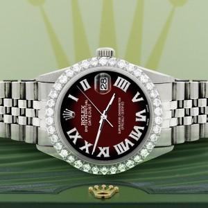 Rolex Datejust 36MM Steel Watch with 3.3CT Diamond Bezel/Maroon Vignette Diamond Roman Dial