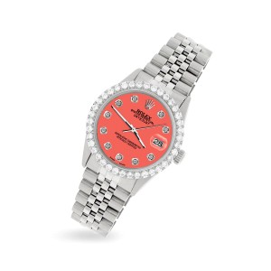 Rolex Datejust 36MM Steel Watch with 3.05Ct Diamond Bezel/Matt Coral Diamond Dial