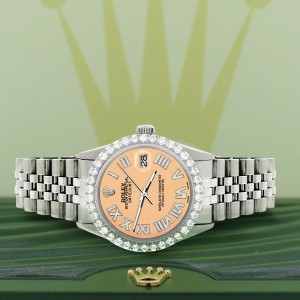 Rolex Datejust 36MM Steel Watch with 3.3CT Diamond Bezel/Mustard Diamond Roman Dial