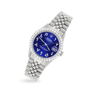 Rolex Datejust 36MM Steel Watch with 3.35CT Diamond Bezel/Navy Blue Diamond Arabic Dial
