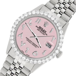 Rolex Datejust 36MM Steel Watch with 3.35CT Diamond Bezel/Orchid Pink Diamond Arabic Dial