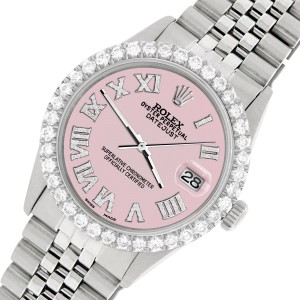 Rolex Datejust 36MM Steel Watch with 3.3CT Diamond Bezel/Orchid Pink Diamond Roman Dial