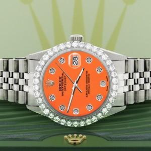 Rolex Datejust 36MM Steel Watch with 3.05Ct Diamond Bezel/Pastel Orange Diamond Dial