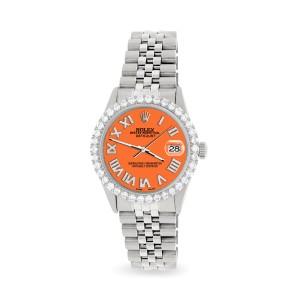 Rolex Datejust 36MM Steel Watch with 3.3CT Diamond Bezel/Pastel Orange Diamond Roman Dial