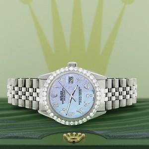 Rolex Datejust 36MM Steel Watch with 3.35CT Diamond Bezel/Purple MOP Diamond Arabic Dial