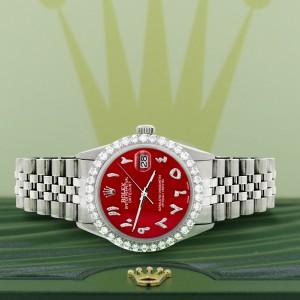 Rolex Datejust 36MM Steel Watch with 3.35CT Diamond Bezel/Red MOP Diamond Arabic Dial