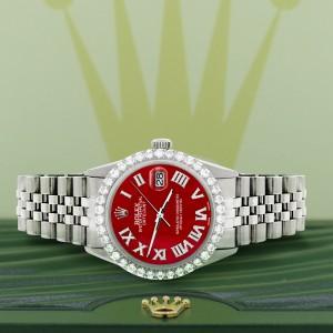Rolex Datejust 36MM Steel Watch with 3.3CT Diamond Bezel/Red MOP Diamond Roman Dial