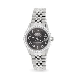 Rolex Datejust 36MM Steel Watch with 3.35CT Diamond Bezel/Rhodium Grey Diamond Arabic Dial