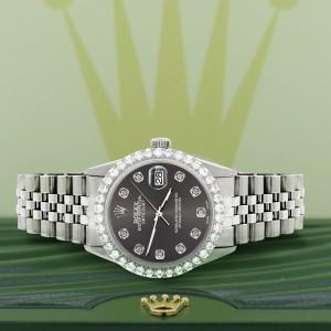 Rolex Datejust 36MM Steel Watch with 3.05Ct Diamond Bezel/Rhodium Grey Diamond Dial