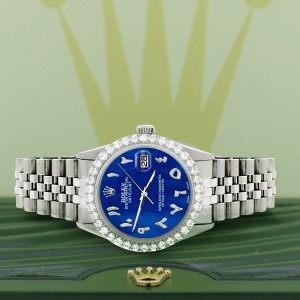 Rolex Datejust 36MM Steel Watch with 3.35CT Diamond Bezel/Royal Blue MOP Diamond Arabic Dial